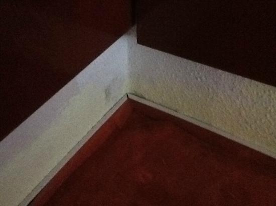 Hotel Senator: Herunterhängende Bretter an der Wand