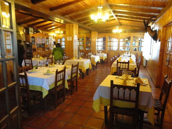 Los Jamones Restaurant: Interior del comedor, con un ambiente muy calido por la decorción en madera y la chimenea de le