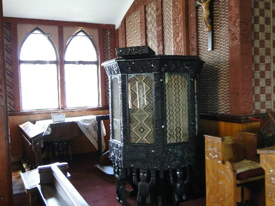 Amazing carved wood pulpit and woven wall panels picture of st faith 39 s anglican church - Woven wood wall panels ...