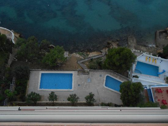 Apartamentos Lido: View of pool and sea from balcony.