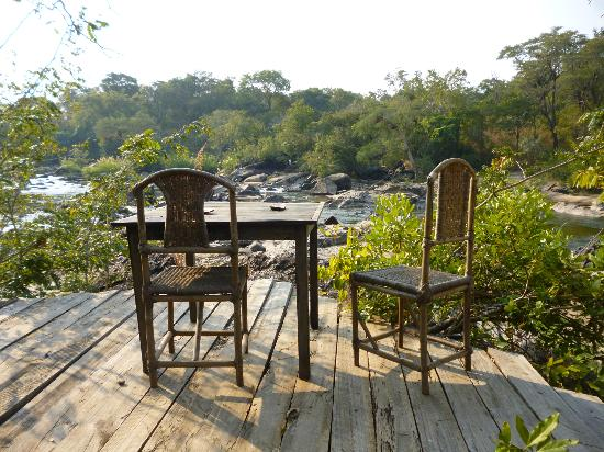 Bua River Lodge: Deck of one of the island luxury tents