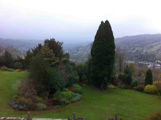 Burleigh Court hotel gardens and view of the valley beyond
