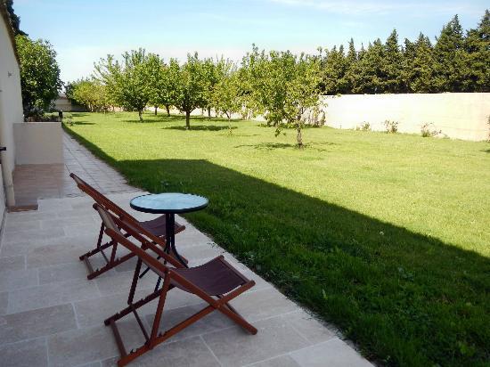 Le Clos des Sorgues : Unser Garten mit reifen Kirschen :-)