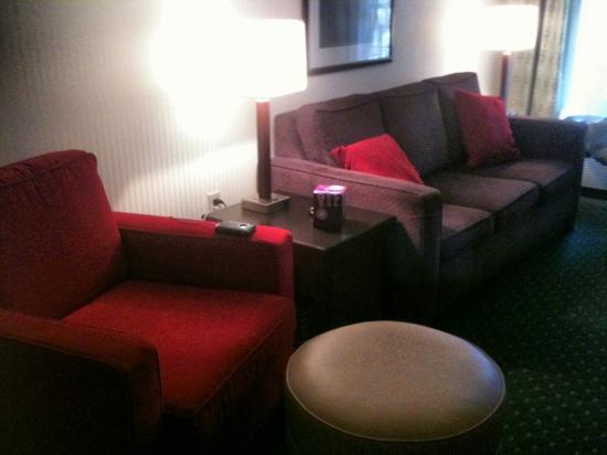 Clarion Inn & Suites: Sitting area with fold out couch