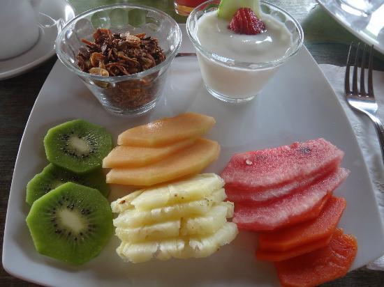 El Pez Colibri Boutique Hotel: Fruit plate, granola, and yogurt. One of several breakfast courses