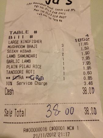 Raja's Restaurant: Rajas receipt- note 10% service
