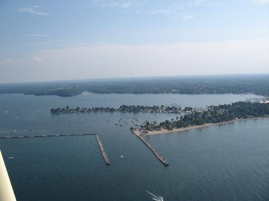 Silver Waters Bed and Breakfast: Looking south from Lake Ontario to Sodus Bay/Point