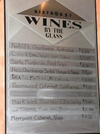 Bistro 821 wine list. Australian wine at the top!