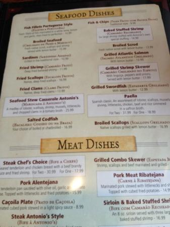 The Menu Picture Of Antonio S Restaurant New Bedford Tripadvisor