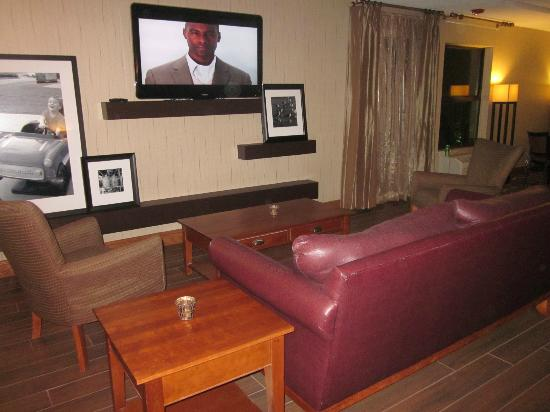 Hampton Inn Portage: Plump leather sofa in lobby