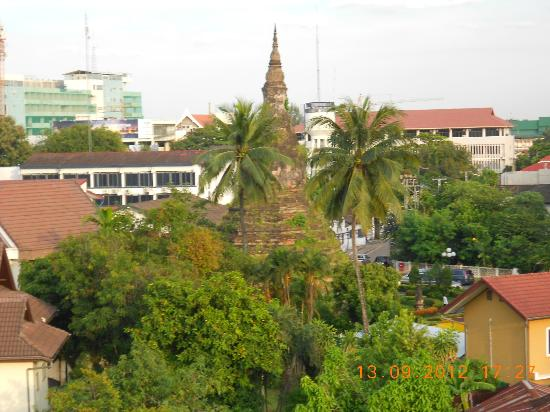 Sabaidee@Lao Hotel: View from room of nearby Stupa