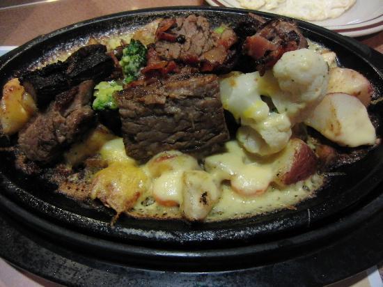 Denny's local dish - prime rib loaded with potato skillet