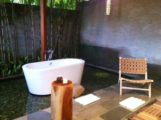 Luwak Ubud Villas: Salle de bain de la chambre,avec petits poissons!!