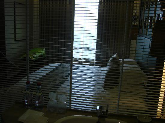 โรงแรม เดอะแลนด์มาร์ค กรุงเทพฯ: view from bathroom (glass wall)
