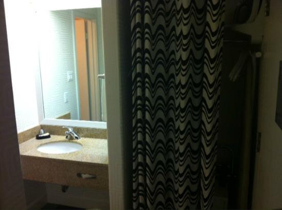 BEST WESTERN PLUS Americania: Sink is outside the bathroom.  Curtain covers an open closet.