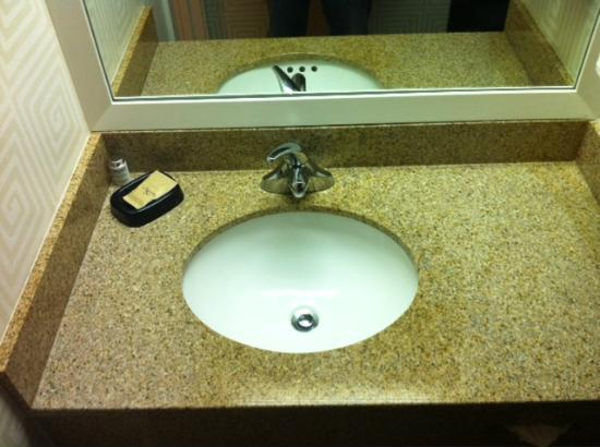 BEST WESTERN PLUS Americania: Sink is very minimalist.  There are two power outlets on the left wall (not shown).