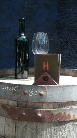 Hand of God Wines Tasting & Restaurant: Barrel, Wine and Glass...what more do you need?