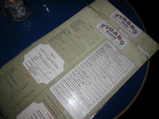 Figaro Bistrot: The menu