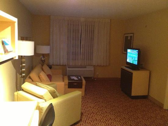 TownePlace Suites Albany Downtown/Medical Center: Large living area, which also included a good-sized desk/work station