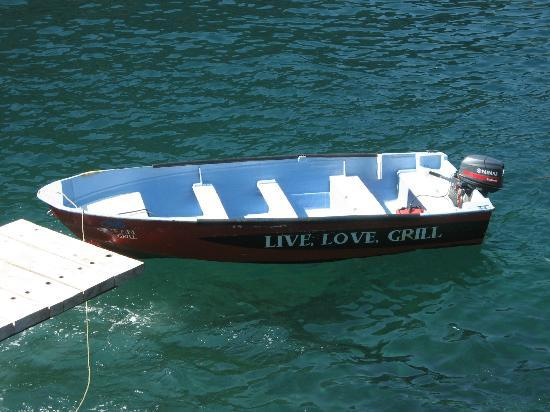 Ocean Grill Vallarta: LIVE. LOVE. GRILL. (on the side of his boat)