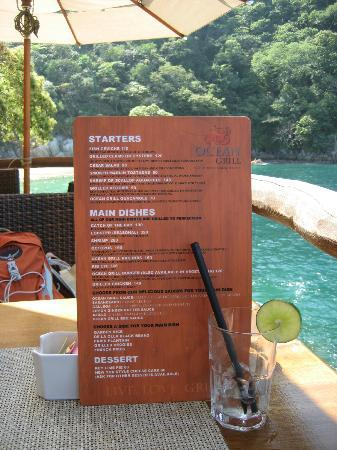 Ocean Grill Restaurant & Beach Club: Menu at our table.