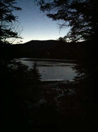 Lonesome Lake Hut: Reaching the lake at dusk