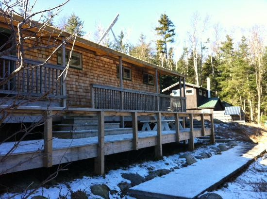 Lonesome Lake Hut: The front of the cabin