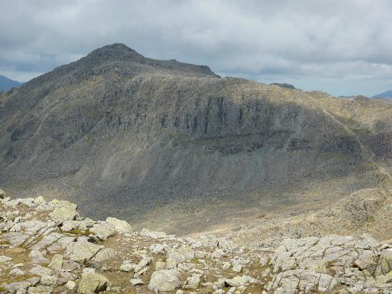 Bowfell and Crinkle Crags: Bowfell from the Crinkles. Three Tarns bottom right.