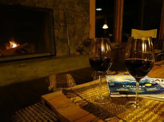 Aguas Arriba Lodge: Living. Tomando un vino con la revista que inspiro el viaje