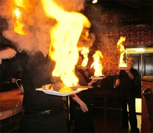 "Kaldera Restaurant : ""OPA"" Raise your glass and yell, OPA,when you see the flaming cheese!"