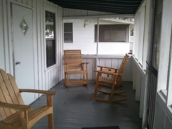 Shell Island Fish Camp: The front porch, view one.