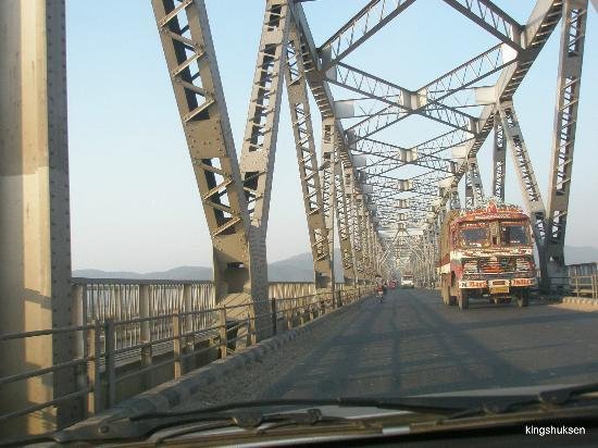 Saraighat Bridge: The bridge glowing in sunset tinge