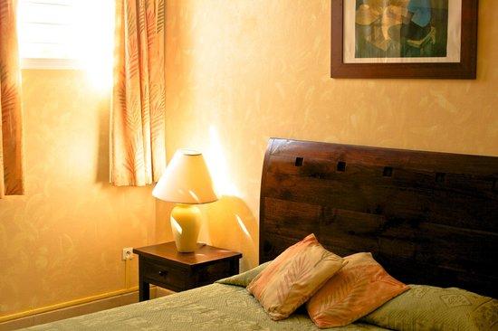 Hotel Le Diwali : Notre chambre aux douces couleurs antillaises.