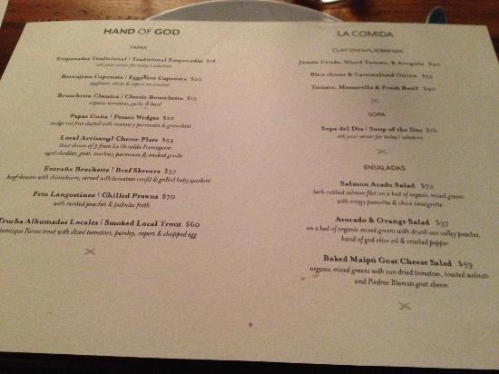 Hand of God Wines Tasting & Restaurant: Menu