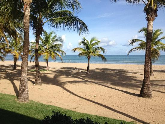 Courtyard by Marriott Isla Verde Beach Resort: View of beach from table at breakfast