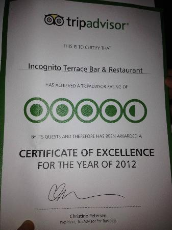 Incognito Restaurant : Thank you everyone for the great comments in helping us achieve this fantastic award from tripad