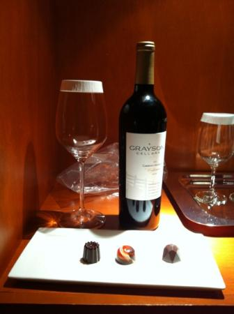Taj Campton Place: This is the $100 amenity . A $7.75 bottle of wine