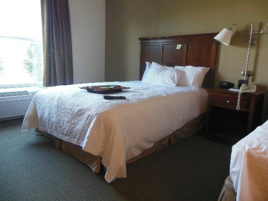 Hampton Inn South Kingstown - Newport Area: room between beds and extended wand with looped end for curtains