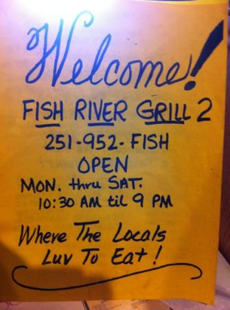 Fish River Grill #2: I loved the simple menus.