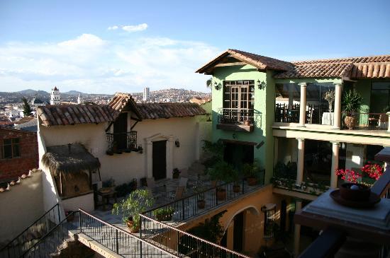 Hotel Boutique Mi Pueblo Samary: Salle à manger avec la vue sur la ville