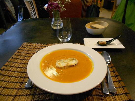 El huerto de Roque: Crema de calabaza con queso de cabra