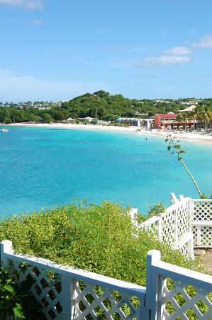 Grand Pineapple Beach Antigua: View of beach from hilltop gazebo area