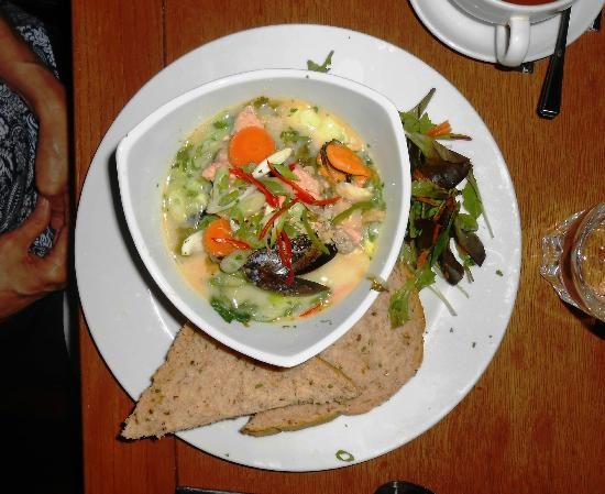 Saints Cafe: Mixed Seafood Stew with Bread and Salad