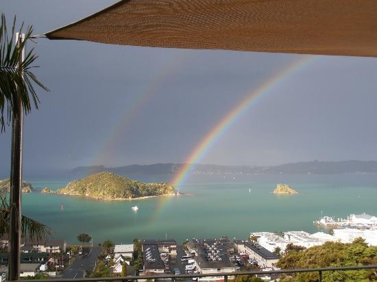 Allegra House: Double rainbow from the balcony