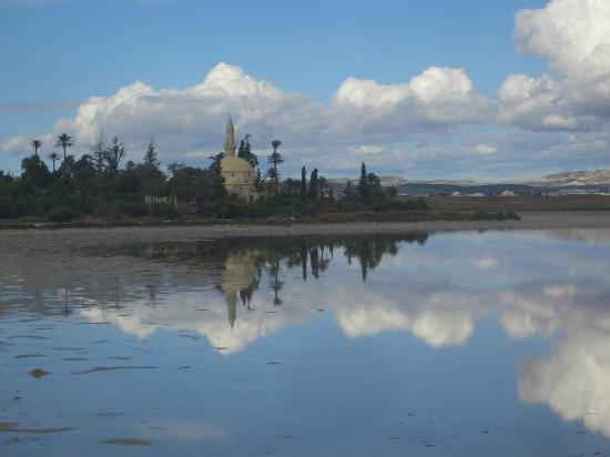 Larnaka, Kıbrıs: Salt Lake with Tekkesi mosque in the background