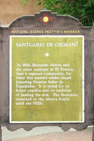 El Santuario de Chimayo: Informationstafel