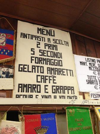Occhiobello, Italie : menù