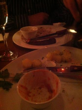 Frankies Steakhouse and Bar: the plates say it all, great food