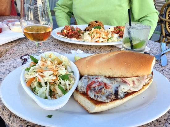 The Mansion: filet medallion portobello hoagie and beef tacos in back