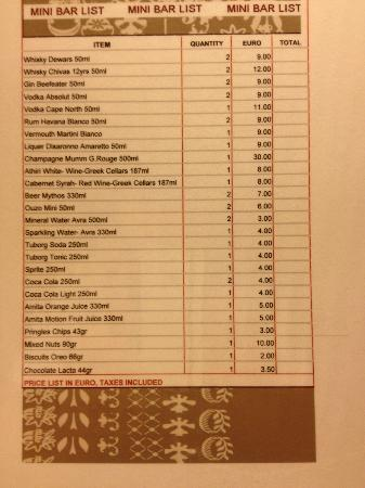 Kefalari Suites: Mini bar Price list